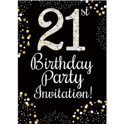 21st Birthday Gold Invitation Cards - Small