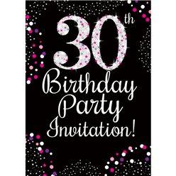 30th Birthday Pink Invitation Cards - Medium