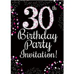 30th Birthday Pink Invitation Cards - Small