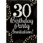 30th Birthday Gold Invitation Cards - Small