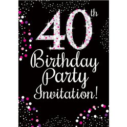 40th Birthday Pink Invitation Cards - Medium