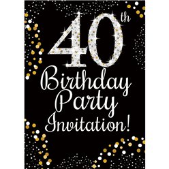 40th Birthday Gold Invitation Cards - Medium