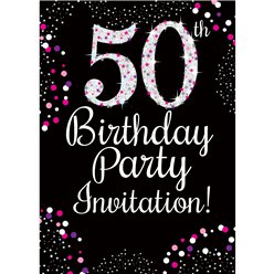 50th Birthday Pink Invitation Cards - Medium