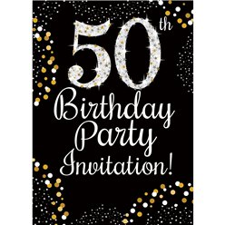 50th Birthday Gold Invitation Cards - Small