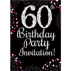 60th Birthday Pink Invitation Cards - Medium