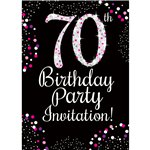 70th Birthday Pink Invitation Cards