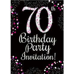 70th Birthday Pink Invitation Cards - Small