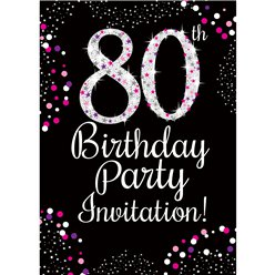 80th Birthday Pink Invitation Cards - Medium
