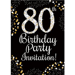 80th Birthday Gold Invitation Cards - Small