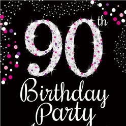 90th Birthday Pink Invitation Cards - Small