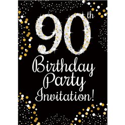 90th Birthday Gold Invitation Cards - Small