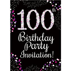 100th Birthday Pink Invitation Cards - Medium
