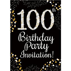 100th Birthday Gold Invitation Cards - Small