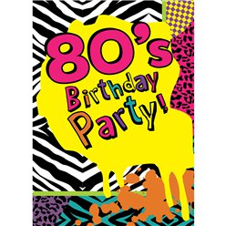 80s Themed Party Invitation Cards - Small