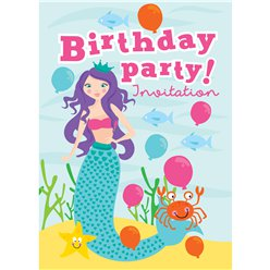 Birthday Mermaid Invites - Medium (75p each)