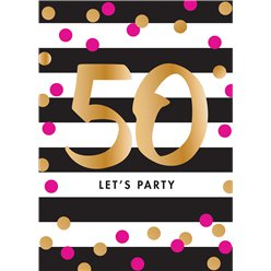 50th Pink & Gold Milestone Invitation Cards - Medium