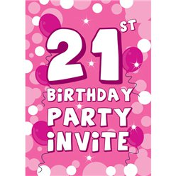 21st Birthday Invitation Cards Blue Sparkle Small Party Delights