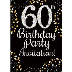 60th Birthday Gold Invitation Cards - Medium