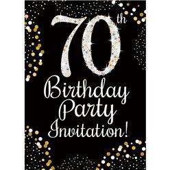 70th Birthday Gold Invitation Cards - Medium