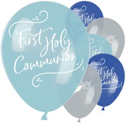 "First Communion Blue Mix Balloons - 11"" Latex"