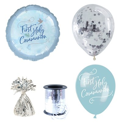 Blue First Communion Balloon Bouquets