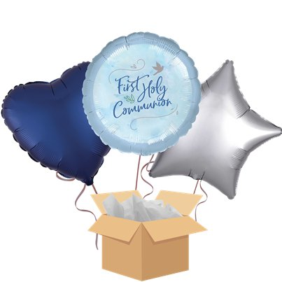 First Holy Communion Blue Balloon Bouquet - Delivered Inflated