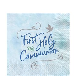 Blue First Communion Paper Napkins - 33cm