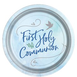 Blue First Communion Paper Plates - 23cm