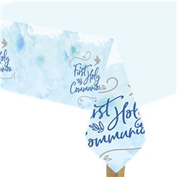 Blue First Communion Plastic Tablecover - 1.8m x 1.2m