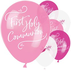 "First Holy Communion Pink Mix Balloons - 11"" Latex"