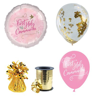 Pink First Communion Balloon Bouquet Kit