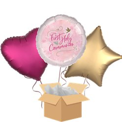 First Holy Communion Pink Balloon Bouquet - Delivered Inflated
