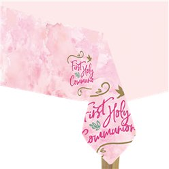 Pink 1st Communion Plastic Tablecover - 1.8m x 1.2m