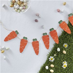 Hoppy Easter Wooden Carrot Bunting - 1.2m