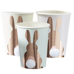 Hoppy Easter Rose Gold Bunny Cups with Pom Pom Tail - 255ml