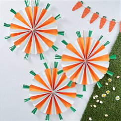 Hoppy Easter Carrot Fan Decorations - 40cm