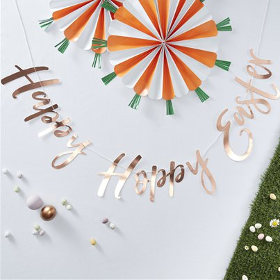 'Hoppy Hoppy Easter' Rose Gold Letter Banner - 1.2m