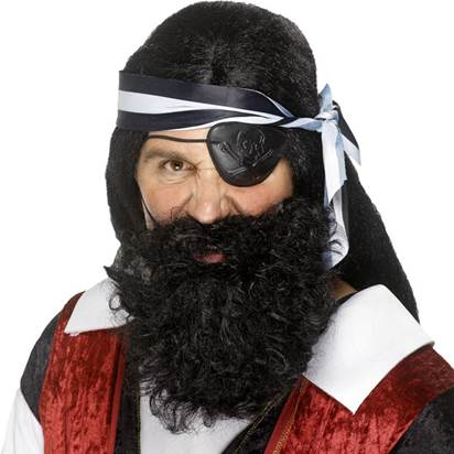 Pirate Black Beard  - Men's Pirate Fancy Dress Costume Accessories front