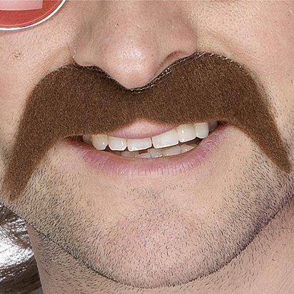Brown 70's Moustache - Fake Mustache front