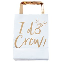 'I Do Crew!' Gold Foil Paper Party Bags - 26cm