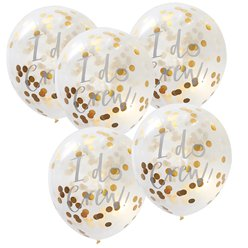 "'I Do Crew!' Gold Confetti Balloons - 12"" Latex"