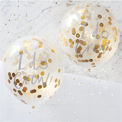 "'I Do Crew' Gold Confetti Balloons - 12"" Latex"