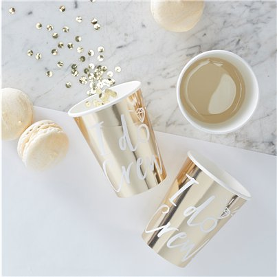 'I Do Crew' Gold Foiled Cups - 255ml