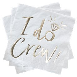 'I Do Crew!' Gold Paper Napkins - 33cm