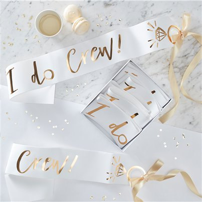 'I Do Crew' White & Gold Sashes