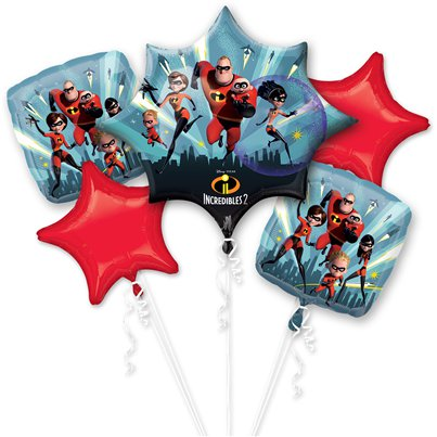 The Incredibles 2 Balloon Bouquet - Assorted Foil Balloons