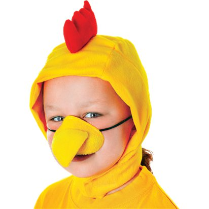 Child's Chicken Hood with Nose - Animal Fancy Dress Accessories front