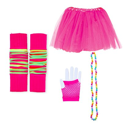 80's Ultimate Pink Costume Kit - 80's Accessories back