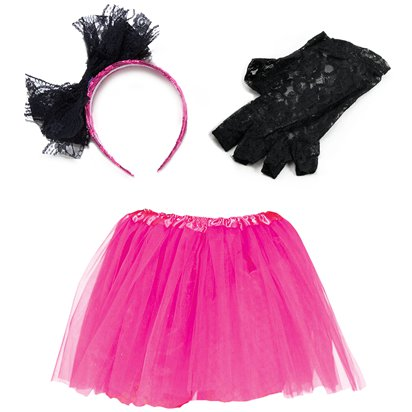 80's Pink Lace Costume Kit - 80's Accessories back