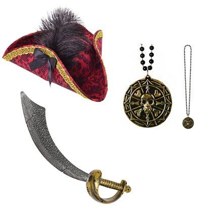 Pirate Lady Accessory Kit - Pirate Fancy Dress Accessories front